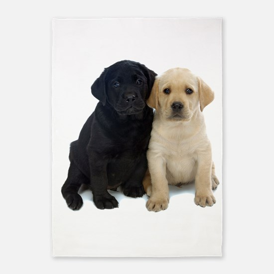 Black and White Labrador Puppies. 5'x7'Area Rug