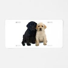 Black and White Labrador Puppies. Aluminum License