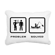Canoe Fishing Rectangular Canvas Pillow