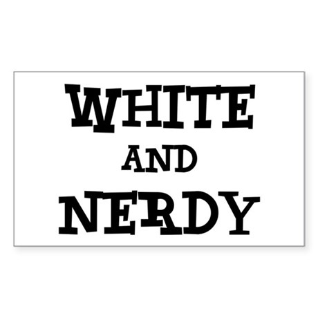 White And Nerdy Sticker (Rectangle)