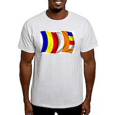 Wavy Buddhist Flag Ash Grey T-Shirt