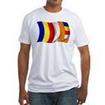 Wavy Buddhist Flag Fitted T-Shirt