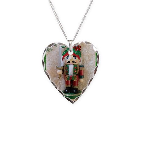 Nutcracker with holiday hat Necklace Heart Charm