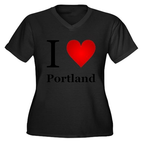 I Love Portland Women's Plus Size V-Neck Dark T-Sh