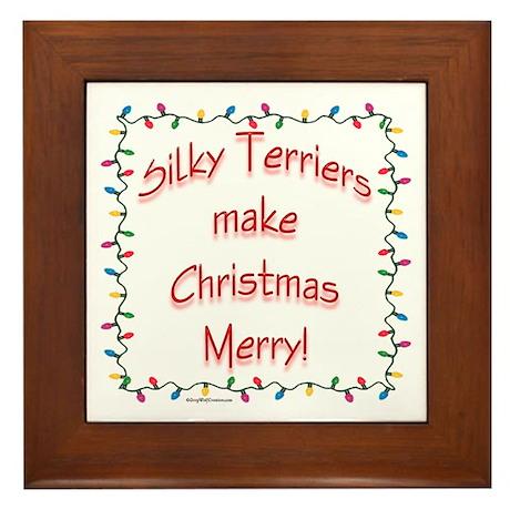 Merry Silky Terrier Framed Tile