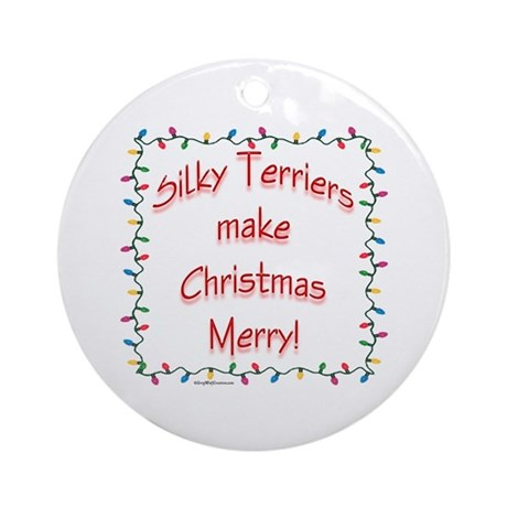 Merry Silky Terrier Ornament (Round)