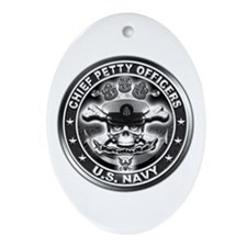US Navy Chiefs Skull and Bones Ornament (Oval)