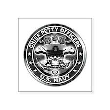 "US Navy Chiefs Skull and Bones Square Sticker 3"" x"