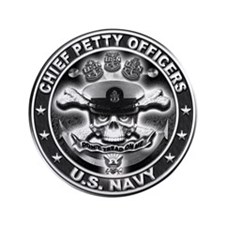 """US Navy Chiefs Skull and Bones 3.5"""" Button (100 pa"""