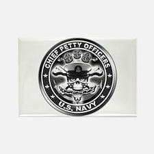 US Navy Chiefs Skull and Bones Rectangle Magnet