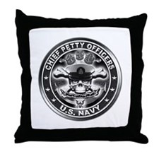 US Navy Chiefs Skull and Bones Throw Pillow