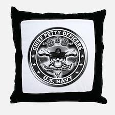 US Navy Chiefs Skull and Bones Throw Pillow