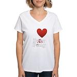i-love-beer-pong-3-dark.png Women's V-Neck T-Shirt
