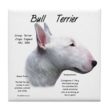 White Bull Terrier Tile Coaster