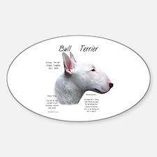 White Bull Terrier Oval Decal