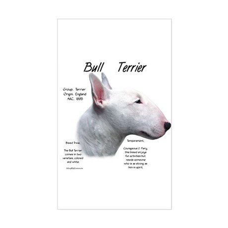 White Bull Terrier Rectangle Sticker