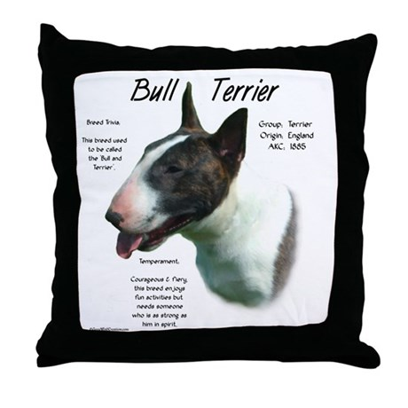 Colored Bull Terrier Throw Pillow