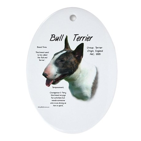 Colored Bull Terrier Oval Ornament