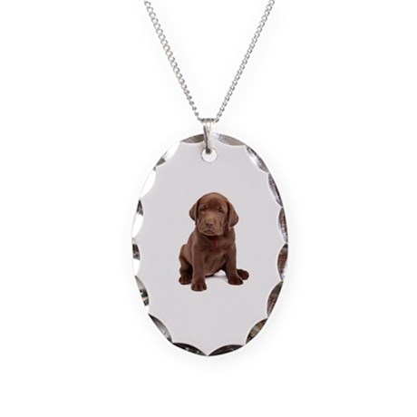 Chocolate Labrador Puppy. Necklace Oval Charm