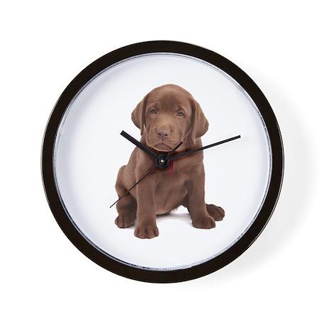 Chocolate Labrador Puppy. Wall Clock