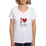sea isle city rectangle.png Women's V-Neck T-Shirt