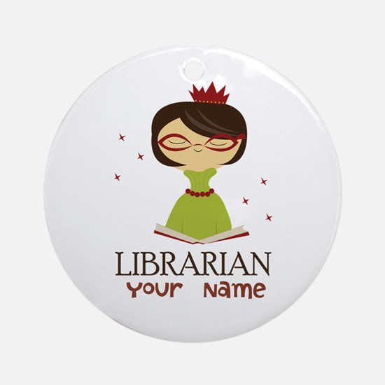 Personalized Library Lady Ornament (Round)