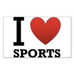 I Love Sports Sticker (Rectangle 10 pk)