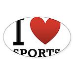 I Love Sports Sticker (Oval 50 pk)