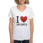I Love Sports Women's V-Neck T-Shirt