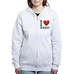 i-love-weed.png Women's Zip Hoodie
