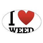 i-love-weed.png Sticker (Oval 10 pk)