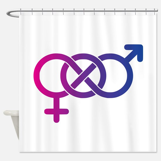Bi Pride Multicolor Logo Shower Curtain