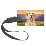 Golden Retriever Meadow Large Luggage Tag