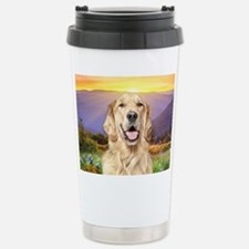 Golden Retriever Meadow Stainless Steel Travel Mug