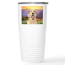 Golden Retriever Meadow Travel Coffee Mug