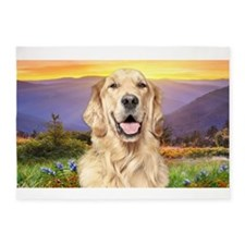Golden Retriever Meadow 5'x7'Area Rug