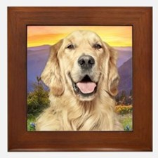 Golden Retriever Meadow Framed Tile