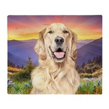 Golden Retriever Meadow Throw Blanket