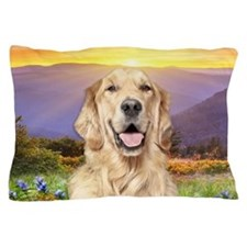Golden Retriever Meadow Pillow Case