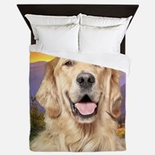 Golden Retriever Meadow Queen Duvet