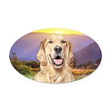 Golden Retriever Meadow Oval Car Magnet