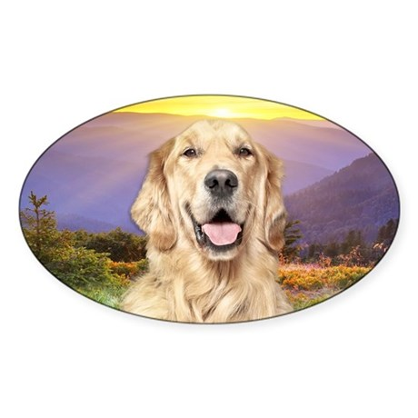 Golden Retriever Meadow Sticker (Oval)