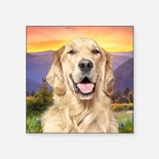 "Golden Retriever Meadow Square Sticker 3"" x 3"""