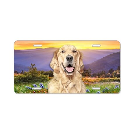 Golden Retriever Meadow Aluminum License Plate