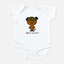 """I love my soldier"" Brown sol Infant Bodysuit"