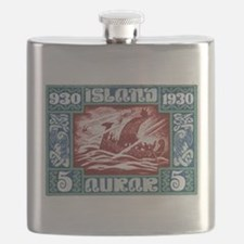 1930 Iceland Viking Ship Postage Stamp Flask