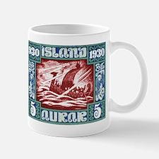 1930 Iceland Viking Ship Postage Stamp Mug