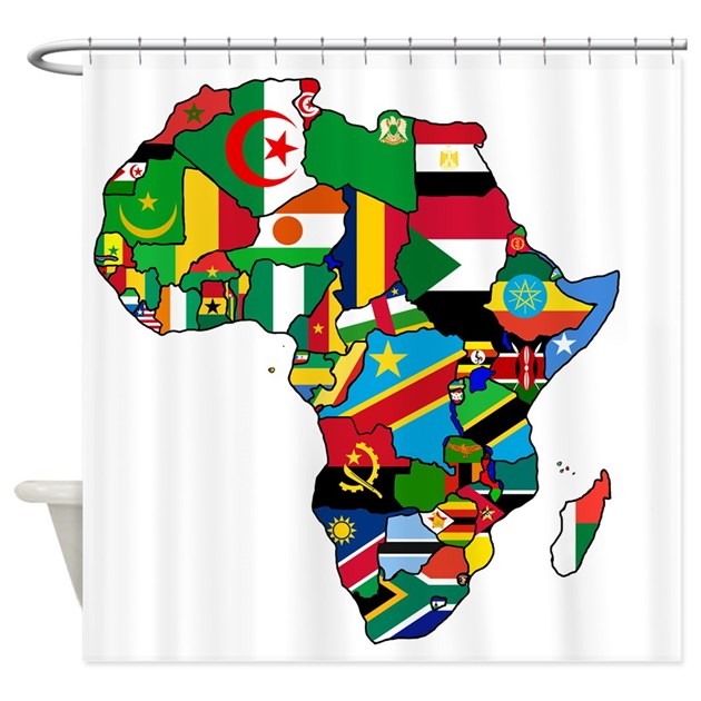 Kitchen Curtains In Kenya: Flag Map Of Africa Shower Curtain By Culturegraphics