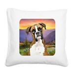 Boxer Meadow Square Canvas Pillow