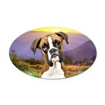 Boxer Meadow Oval Car Magnet